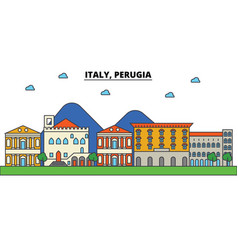 italy perugia city skyline architecture vector image