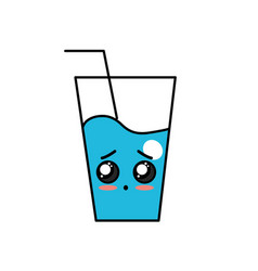 Kawaii cute surprised water glass vector