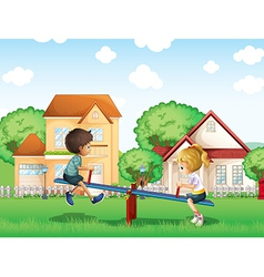 Kids playing at the park in the village vector