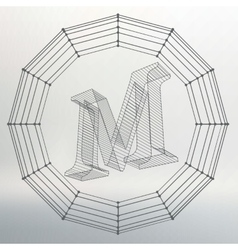 letter M Fonts of Mesh vector image