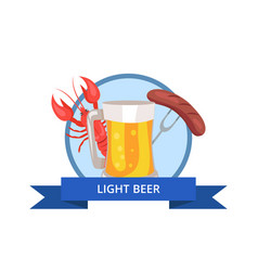 light beer logo glass of beer with foam and bubble vector image