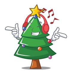 Listening music christmas tree character cartoon vector