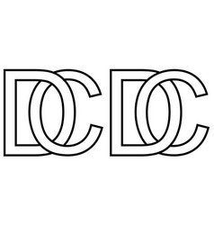 Logo cd dc icon sign two interlaced letters c d vector