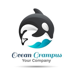 Logo orca whale Isolated white background Grampus vector
