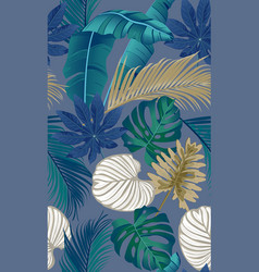 luxury seamless pattern with tropical leaves on vector image