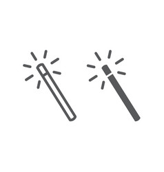 Magic wand line and glyph icon tools and design vector
