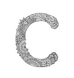 Mandala letter c monogram adult coloring book vector