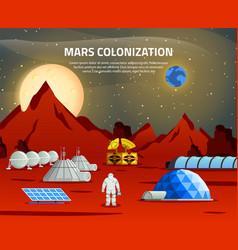 mars colonization flat composition vector image