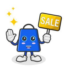 Mascot character a shopping bag holding a sign vector