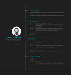 Minimalist resume cv template with nice typography vector