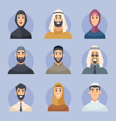 muslim avatars arabic male and female characters vector image