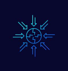 Negative impact line icon vector
