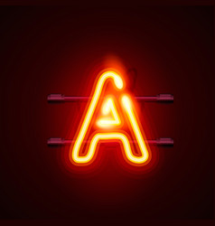 Neon font letter a art design singboard vector