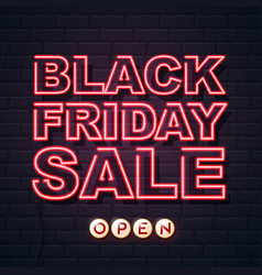 neon sign black friday sale open on brick wall vector image