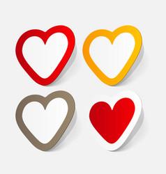 Paper sticker valentines day heart vector