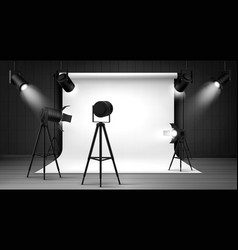 Photo studio with white background and spotlights vector