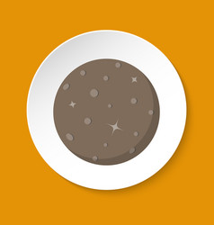 Planet mercury icon in flat style on round button vector