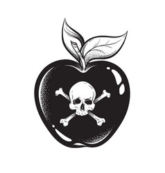 Poison apple line art and dot work hand drawn vector