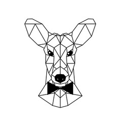 Portrait of a young deer with a bow tie polygonal vector