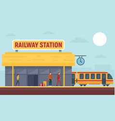 Railway station concept banner flat style vector