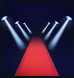 Red carpet with spotlights vector