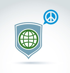 Round antiwar icon green planet on a shield and vector image