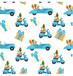 scooter with pine tree and presents for christmas vector image