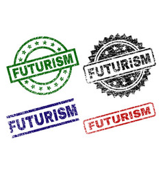 Scratched textured futurism seal stamps vector