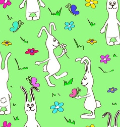 seamless pattern funny rabbits vector image