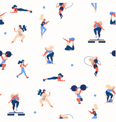 seamless pattern with girls doing sport exercises vector image