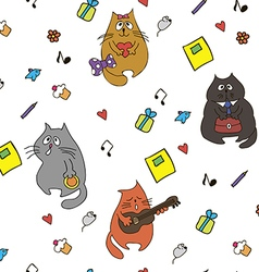 Seamless with cats vector