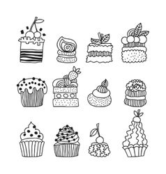 Set black and white doodle cakes for coloring book vector
