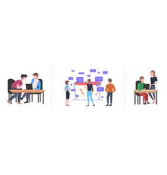 Set businesspeople using laptop social media vector