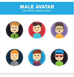 Set male avatar icons vector