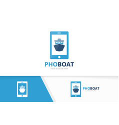 ship and phone logo combination boat and vector image