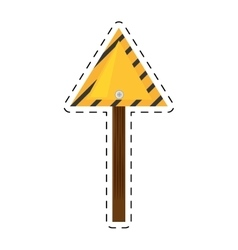 Sign road triangle caution yellow empty cut line vector