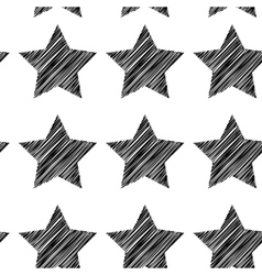 Sketch seamless pattern with stars Black stars on vector image