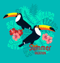 summer card with tropical bird toucan on floral vector image