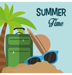 Summer time card suitcase hat sunglasses sand palm vector