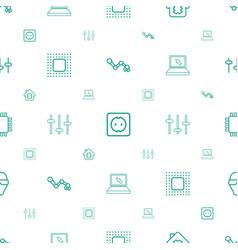 tech icons pattern seamless white background vector image