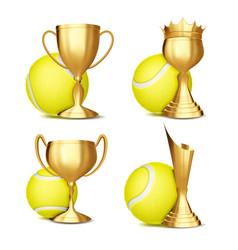 tennis game award set tennis ball golden vector image
