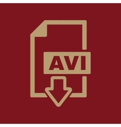 The AVI icon Video file format symbol Flat vector