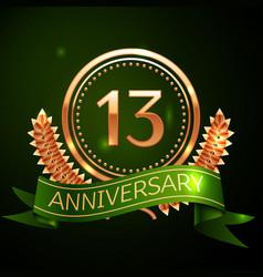 thirteen years anniversary celebration design vector image