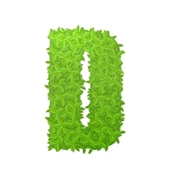 Uppecase letter D consisting of green leaves vector image