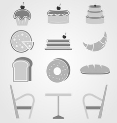 Variety of bakery icons in coffee shop vector image