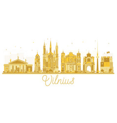 vilnius lithuania city skyline golden silhouette vector image