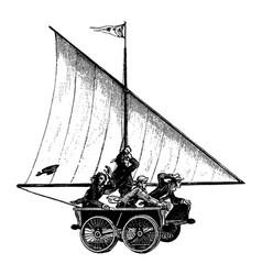 vintage engraving land sailing men vector image