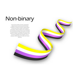 Waving ribbon or banner with non-binary pride flag vector