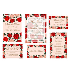 wedding ceremony invitation card with rose flower vector image