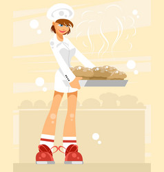 woman pastry chef vector image